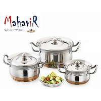 Mahavir Stainless Steel Cook & Serve Set Copper Bottom (3 Pcs)