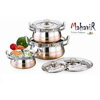 Mahavir Stainless Steel Cook & Serve Set Cross Copper Model (3 Pcs)