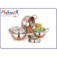 Mahavir Stainless Steel Designer Cross Copper Cookware Set (3 Pcs)