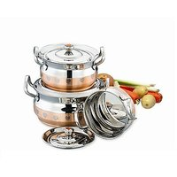Mahavir Stainless Steel Cook & Serve Set Design Copper Model (3 Pcs)