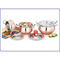 Mahavir Stainless Steel Diamond Design Copper Cookware Set (3 Pcs)