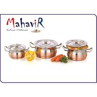 Mahavir Fruit & Nuts Design Copper Cook & Serve Cookware Set (3 Pcs)