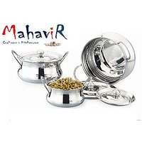 Mahavir Stainless Steel Cook & Serve Set Plain Mirror Finish Model (3 Pcs)
