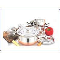 Mahavir Stainless Steel Special Effect Copper Cookware Set (3 Pcs)