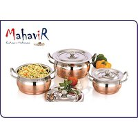 Mahavir Stainless Steel Sunflower Cook Copper Cookware Set (3 Pcs)