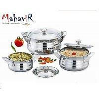 Mahavir Stainless Steel Cook & Serve Silver Touch Model (3 Pcs)