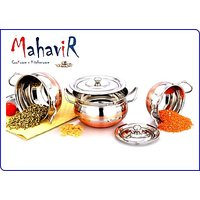 Mahavir Stainless Steel Solo Cook & Serve Set Cross Copper Model (3 Pcs)