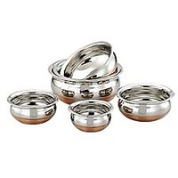Mahavir Stainless Steel Cook & Serve Set Copper Bottom (5 Pcs)