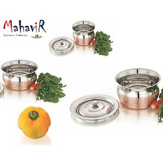 Mahavir Stainless Steel Belly Baby Design Copper Cook Serve Set (3 Pcs)