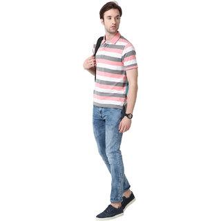 Mudo Navy/Blue Stripes Regular Man'S  Half Sleeve T-Shirt With Collar Neck -2107B
