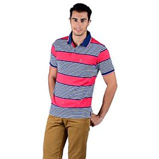 Mudo Red Stripes Regular Men'S Casual Half Sleeve Polo T-Shirt With Cotton Blended With Collar Neck -2107A