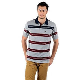 Mudo Grey Stripes Regular Men'S Casual Half Sleeve Polo T-Shirt With Cotton Blended With Collar Neck -2101B