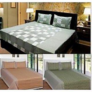 Akash Ganga Combo of 3 Cotton Double bedsheets with 6 Pillow Cover (KK COMBO 19)