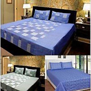 Akash Ganga Combo of 3 Cotton Double bedsheets with 6 Pillow Cover (KK COMBO 21)