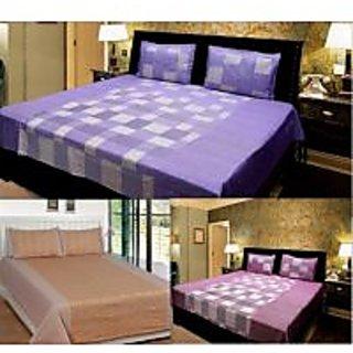 Akash Ganga Combo of 3 Cotton Double bedsheet with 6 Pillow Cover (KK COMBO 22)