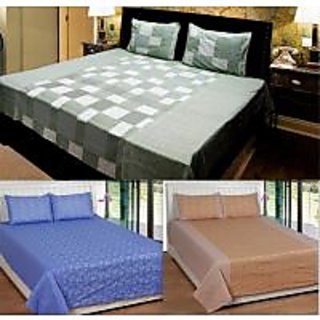 Akash Ganga Combo of 3 Cotton Double bedsheet with 6 Pillow Cover (KK COMBO 23)