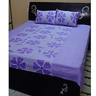 Akash Ganga Purple Cotton Double Bedsheet with 2 Pillow Covers (KK25)