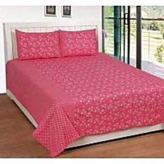Akash Ganga Pink Cotton Double Bedsheet with 2 Pillow Covers (KK29) FRESH ARIVAL