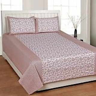 Akash Ganga Brown Cotton Double Bedsheet with 2 Pillow Covers (KK33)