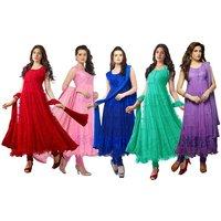 Designer Brasso Net Semi Stitche Anarkali Suit Dress Material 6 Colors Available