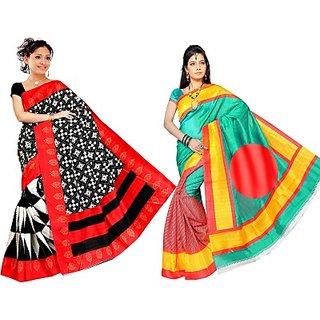 Muta Fashions In Trend Bhagalpuri Saree (Pack Of 2)