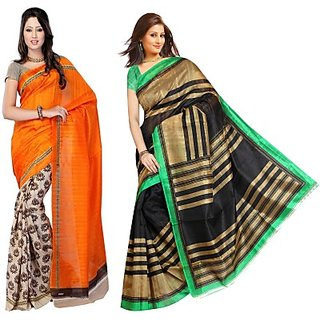 Muta Fashions Impressive Bhagalpuri Saree (Pack Of 2)
