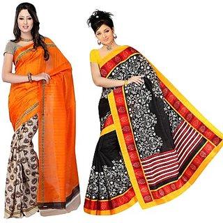 Muta Fashions Classic Bhagalpuri Saree (Pack Of 2)
