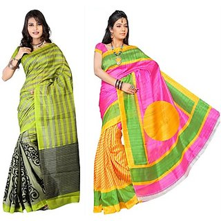 Muta Fashions Groovy Bhagalpuri Saree (Pack Of 2)