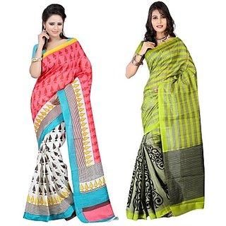 Muta Fashions Dashing Bhagalpuri Saree (Pack Of 2)