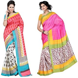 Muta Fashions Yash Bhagalpuri Saree (Pack Of 2)