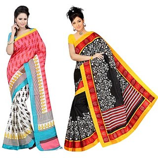 Muta Fashions Casual Bhagalpuri Saree (Pack Of 2)