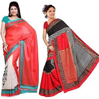 Muta Fashions Exclusive Bhagalpuri Saree (Pack Of 2)