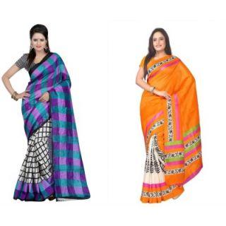 Muta Fashions New Design Bhagalpuri Saree (Pack Of 2)