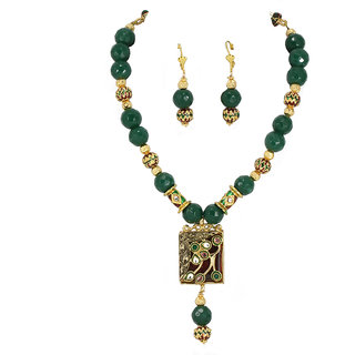 Jade Kundan And Pendant Set By AARA