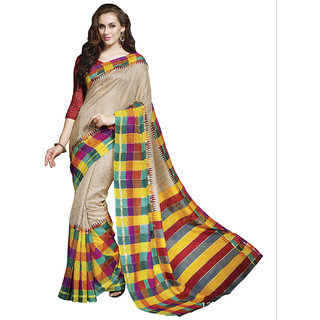 SuratTex Beige Silk Printed Saree With Blouse
