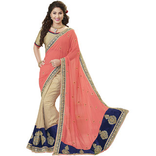 Surat Tex Pink Georgette Designer Embroidered Sarees With Blouse Piece-G23SE2804KE