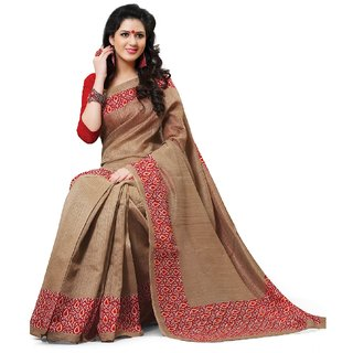 SuratTex Brown Silk Printed Saree With Blouse
