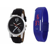 Oura Analog Black Dial Watch For Men With Blue Led Watch-WBB-12-121
