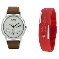 Oura Analog White Dial Watch For Men With Red Led Watch-WWR-20-120
