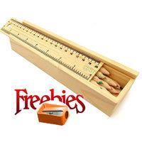 Natural Wood Pencil Crayons With Box