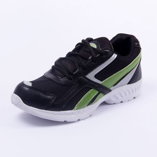 Foot 'n' Style Comfortable Black & Light Green Sports Shoes (fs424)