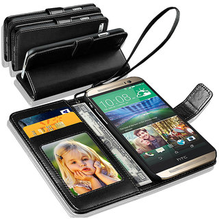 N+ INDIA  HTC Desire 820  Leather Wallet Book Flip Case Cover  Black