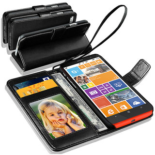 N+ INDIA  Microsoft Lumia 630  Leather Wallet Book Flip Case Cover  Black