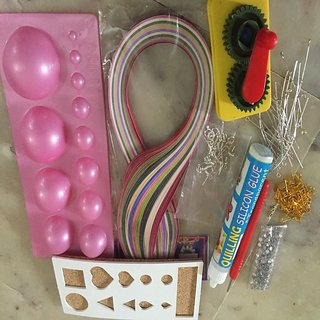 Quilling Machine with 5mm Blue Pink color 100 papers set