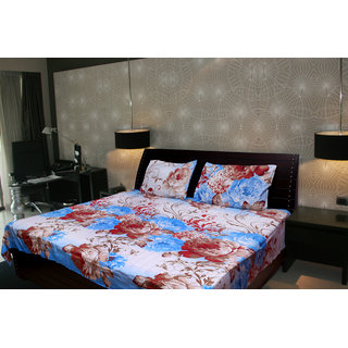 Akash Ganga Floral Double Bedsheet With 2 Pillow Cover (KMA-523)