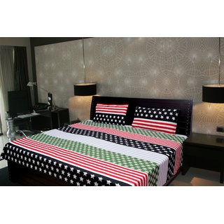 Akash Ganga Abstract Double Bedsheet With 2 Pillow Cover (KMA-531)
