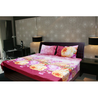 Akash Ganga Abstract Double Bedsheet With 2 Pillow Cover (KMA-526)