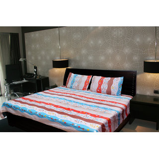 Akash Ganga Abstract Double Bedsheet With 2 Pillow Cover (KMA-522)