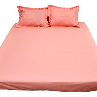 Akash Ganga Pink Cotton Double Bedsheet With 2 Pillow Cover (KMA-535)