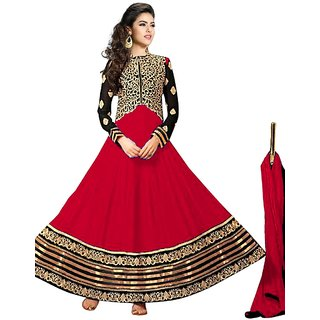 Vibes Womens  Georgette  Anarkali Style Unstich Dress Material (V327-10003Red)